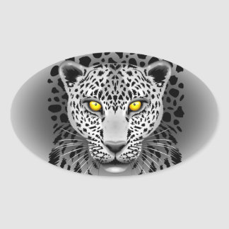 White Leopard with Yellow Eyes Oval Stickers