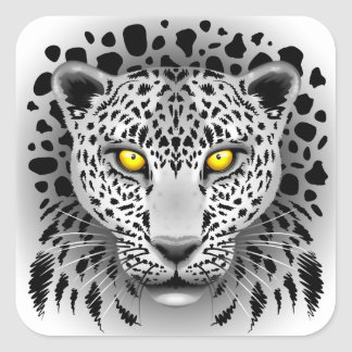 White Leopard with Yellow Eyes Square Stickers