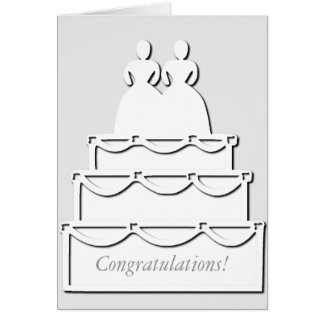 White Lesbian Wedding Cake Card