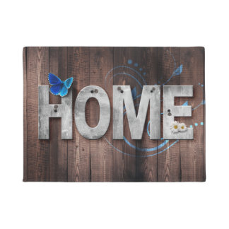 White Letters with a Blue Butterfly Spell Home Mat