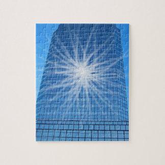 White Light Burst Blue Skyscraper Jigsaw Puzzle