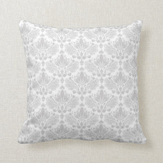 White & Light Gray Vintage Floral Damask Pattern 2 Throw Pillow