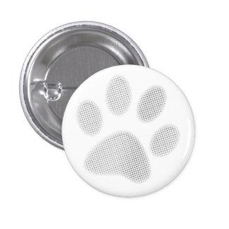 White/Light Grey Halftone Paw Print 1 Inch Round Button