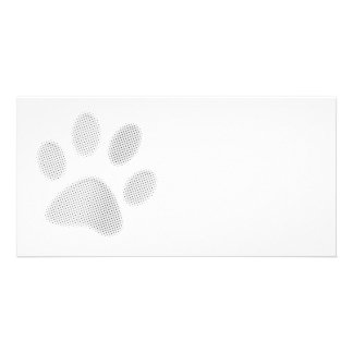 White/Light Grey Halftone Paw Print Picture Card
