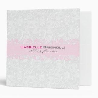 White & Light Pink Vintage Floral Lace 3 Ring Binder
