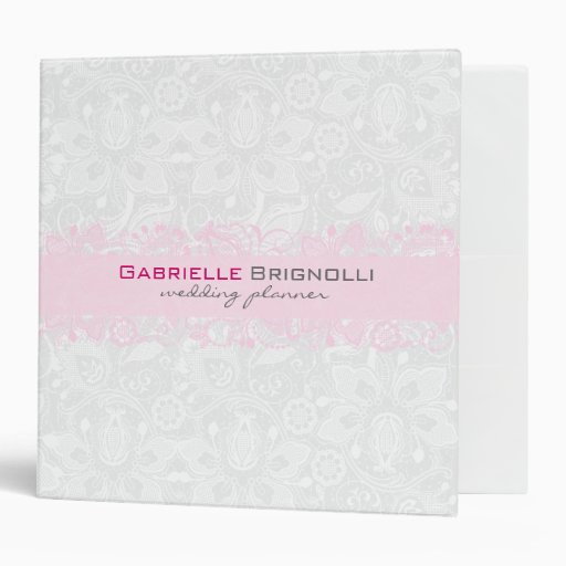 White & Light Pink Vintage Floral Lace Vinyl Binder