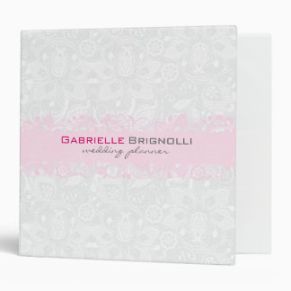 White & Light Pink Vintage Floral Lace Binders