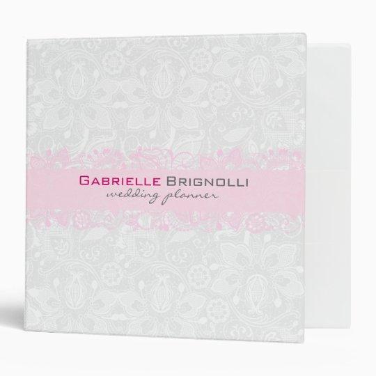White & Light Pink Vintage Floral Lace Binders