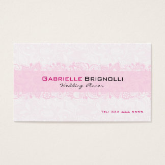 White & Light Pink Vintage Floral Lace Business Card