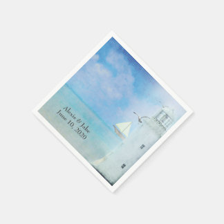 white lighthouse and sailboat disposable napkin