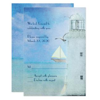 white lighthouse wedding RSVP Card