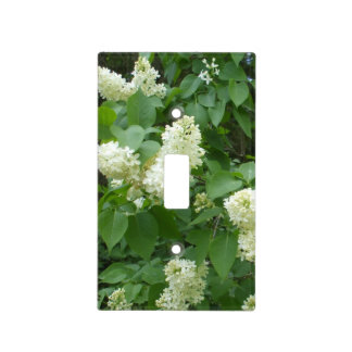 White Lilacs Flowers on Bush Switch Plate Cover