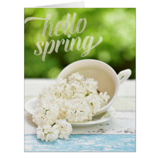 White Lilacs Spring flowers Stilllife Floral Text Card