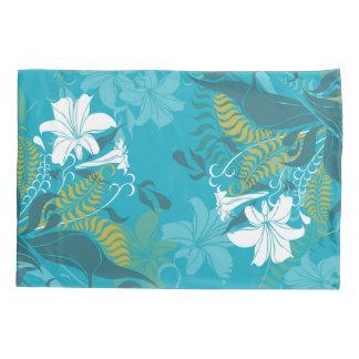 White Lilies Blue Background Pillowcase
