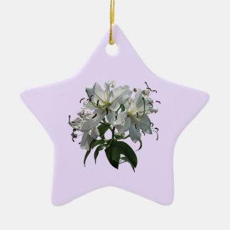 White Lilies Ceramic Ornament