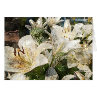 White Lilies Easter Flowers Art Card