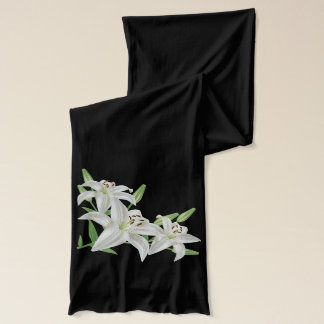 white lilies flowers scarf
