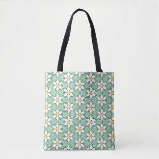 White Lilies Pattern Tote Bag