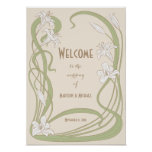 White Lilies Wedding Welcome Poster
