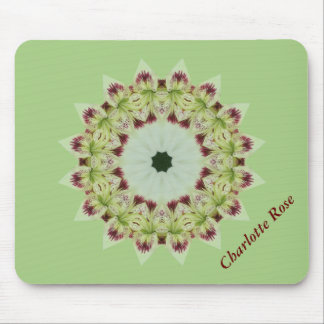 White Lily 16 Point Star Kaleidoscope Mouse Pad