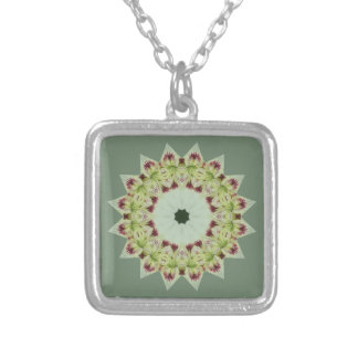 White Lily 16 Point Star Kaleidoscope Silver Plated Necklace