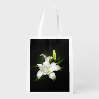 White Lily accent Black Reusable Grocery Bag