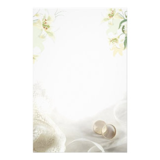 White lily and rings Wedding Stationery
