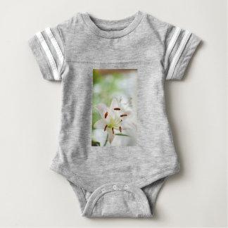 White Lily Flower Fully Open Baby Bodysuit