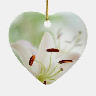 White Lily Flower Fully Open Ceramic Heart Ornament