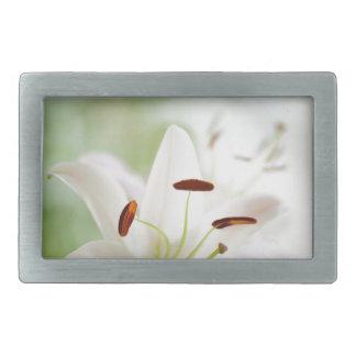 White Lily Flower Fully Open Rectangular Belt Buckle