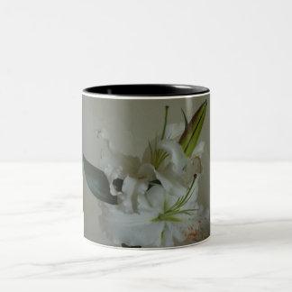 White lily flower Two-Tone coffee mug