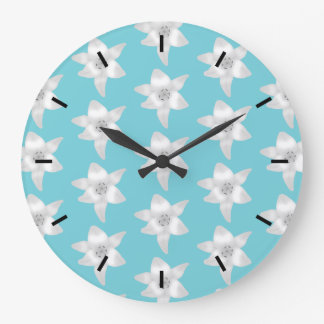 White Lily Flowers on a Teal - Turquoise Color. Large Clock