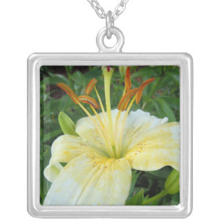 White Lily II Silver Plated Necklace