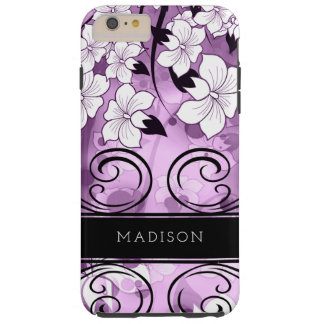White Lily Illustration with Lavender Purple Tough iPhone 6 Plus Case