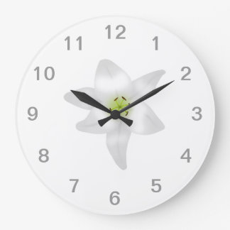 White Lily. Large Clock