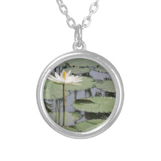 White Lily Lotus Silver Plated Necklace
