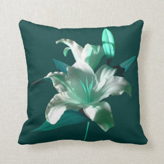White Lily Offset Green by DelynnAddams Throw Pillow