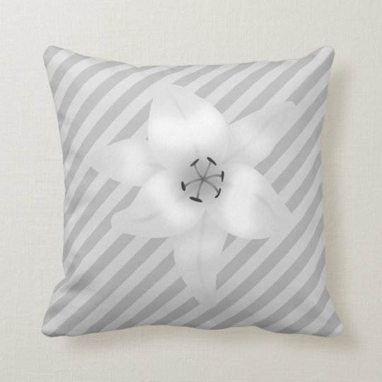 White Lily on a Grey Stripe Pattern. Throw Pillow