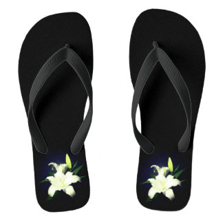White Lily on Black Background Shower Shows Flip Flops