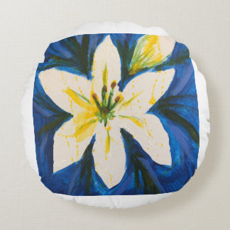 White Lily on Blue by Jane Round Pillow