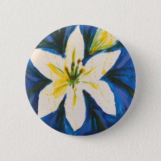 White Lily on Blue Collection by Jane 2 Inch Round Button