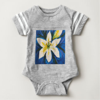 White Lily on Blue Collection by Jane Baby Bodysuit