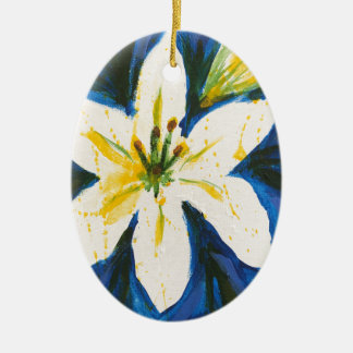 White Lily on Blue Collection by Jane Ceramic Ornament