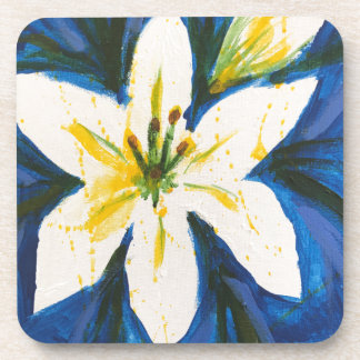 White Lily on Blue Collection by Jane Drink Coaster