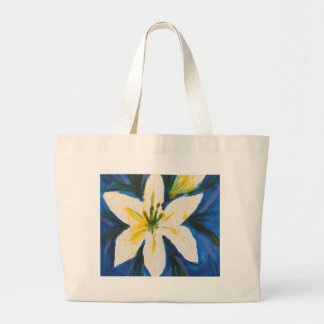 White Lily on Blue Collection by Jane Large Tote Bag