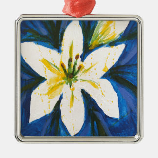 White Lily on Blue Collection by Jane Metal Ornament