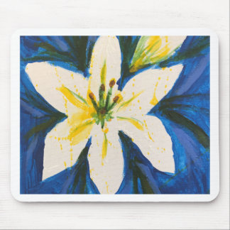 White Lily on Blue Collection by Jane Mouse Pad