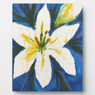 White Lily on Blue Collection by Jane Plaque