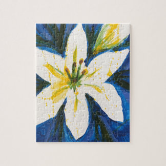 White Lily on Blue Collection by Jane Puzzle
