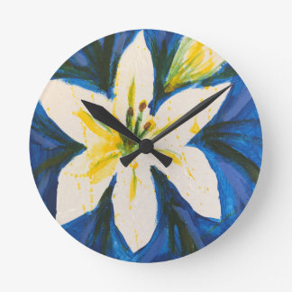 White Lily on Blue Collection by Jane Round Clock